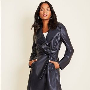 NWT 2019 ann taylor faux leather trench coat  XS